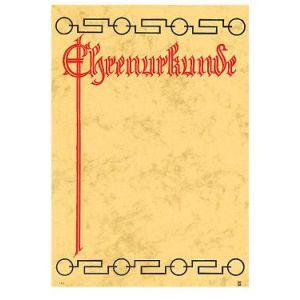 Ehrenurkunde Hintergrund beige, Schrift rot, Forma