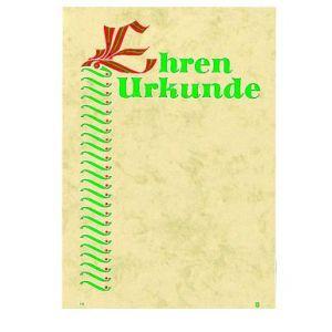 Ehrenurkunde Hintergrund beige, Schrift rot/grün,