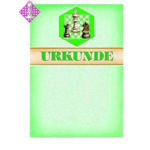 Urkunde, hellgrün, beiger Balken, Schrift grün