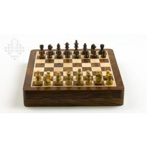 Schachkassette Palisander/Ahorn, 25,7x25,7 cm