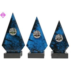 Marmor-Ständer, blau, Set 3-teilig