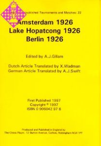 Amsterdam 1926;  Lake Hopatcong 1926;