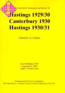Hastings 1929/30, Canterbury 1930, Hastings 1930/3