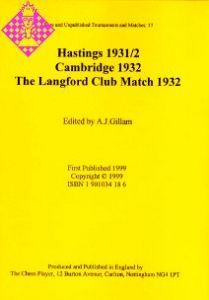 Hastings 1931/2, Cambridge 1932