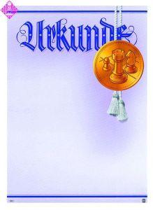 Urkunde, Hintergrund weiß/lila, Motiv gold,