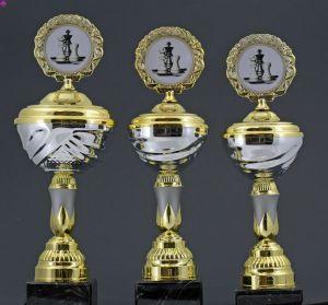 Pokale mit Deckel, 3er Set, gold-/silberfarben